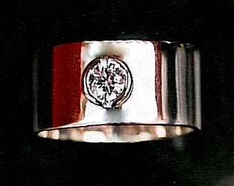 Minimalist Engagement Ring Wide CIGAR BAND ENGAGEMENT Wedding Ring Platinum 1 carat Solitaire Diamond Diamond White Gold Moissanite