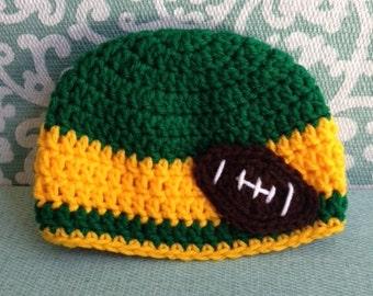 Crochet Green Bay Packers hat, Crochet Packers hat, Baby Packers hat, Green Bay Packers hat, Crochet hat, Crochet Packers hat, sports hat