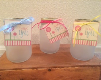 Frosted mason jars with Thank You tags!