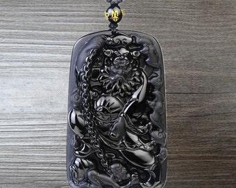 "natural obsidian pendant ""Zhong Kui"" amulet pendant"