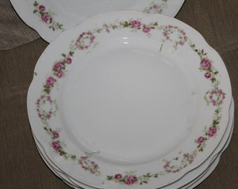 Alice Austria Vintage Porcelain China, Collection of 6 Dinner Plates 10 Inches In Diameter, Pink Roses Pattern, Beveled Edges, Collectible