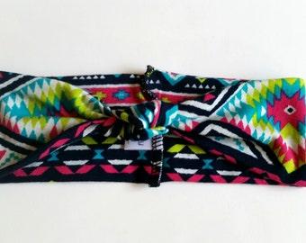 Aztec baby headband, knot turban headband, baby girl southwestern print headband, girl hair accessories, knit headband