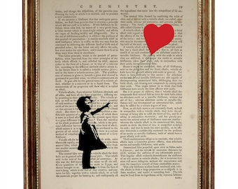 Banksy balloon girl do not let your dreams fade away  Dictionary Art Print on Upcycled Book page 8 x 10 inches