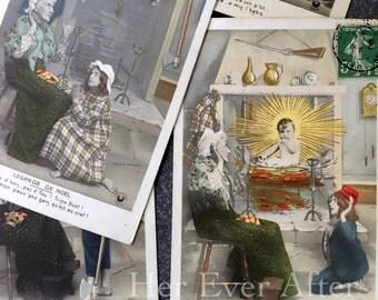 Christmas Miracle, Set of 5 // Baby Jesus visitation French postcard set // Original RPPC postcard set, series, lot, antique postcard oddity
