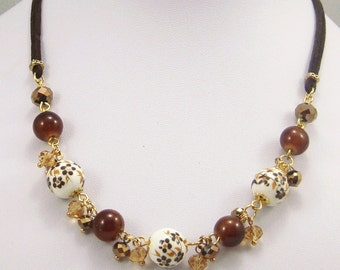 Free shipping,brown flower China beads necklace,leather cord,vintage,bangle,personalized,wholesale(XL32)