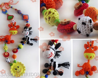 Africa nursing necklace with toy - Teething necklace - Breastfeeding Necklace - Crochet Necklace - Gift for Babywearing Moms