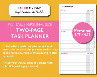 Personal Filofax Task Planner - Two Page Weekly Task Planner Printable for Personal Filofax, Kikki K Medium and Kate Spade planners