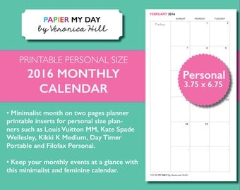Filofax Month on Two Pages - Printable 2016-2017 Calendar - Fits Filofax Personal and Kikki K Medium planners