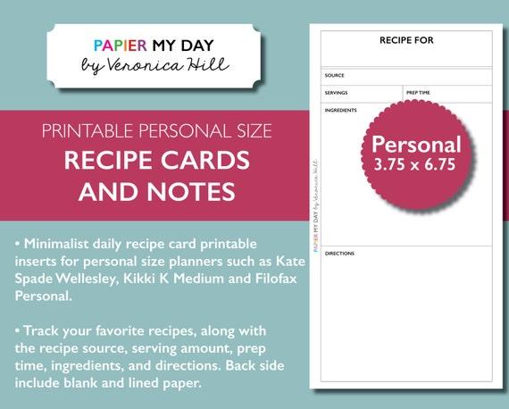 Personal Filofax Recipe Card Printable Recipe Cards for