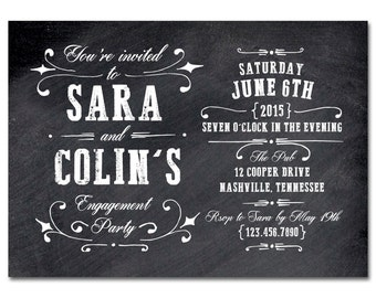 Engagement Party 5x7 Invitation with hand-drawn flourishes - Vintage Blackboard - Printable and Personalized