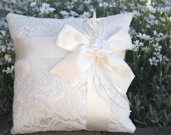 Lace Ring Bearer Pillow, ivory ring bearer pillow, satin and lace ringbearer pillow, wedding pillow