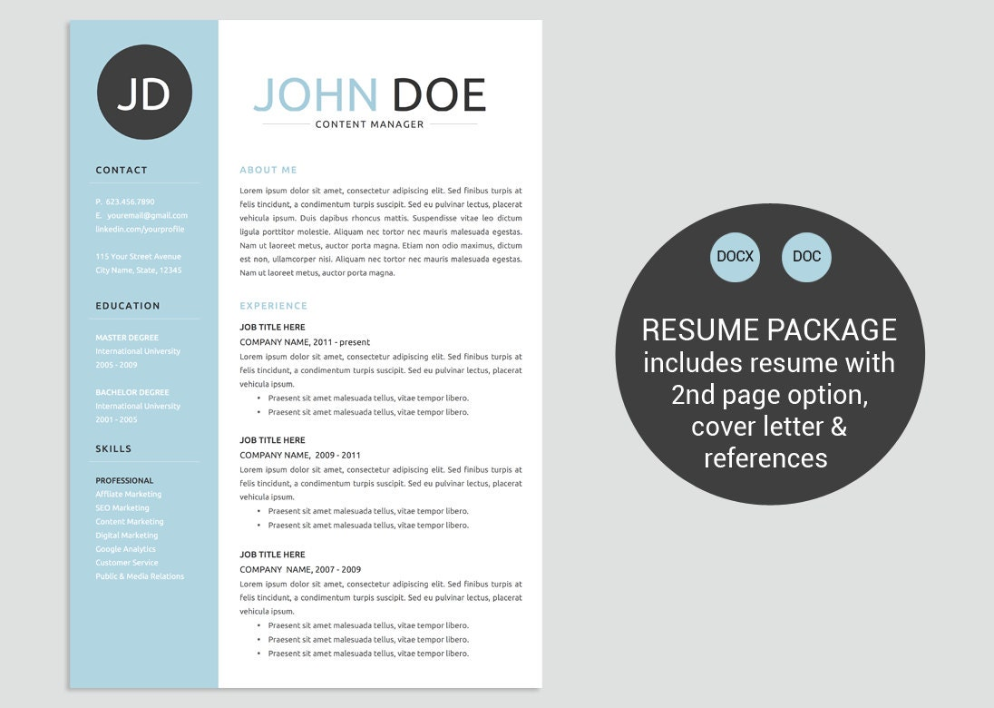 classic blue word resume template cv template cover letter