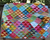 """Quilt, Large Throw Quilt, Lap Quilt, Handmade Patchwork in Multiple Colors Half Square Triangle Quilt, """"Colors of Carnival"""" 50"""" x 60"""""""