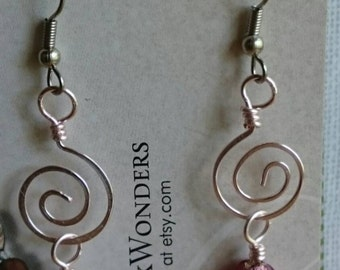 Hammered pink wire wrapped dangle earrings