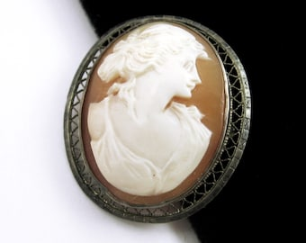 "Sterling Silver carved SHELL CAMEO PENDANT Vintage Oval Edwardian, Victorian 1 3/8"" Length"