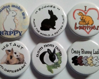 Bunny Love Badge Button Pin Set of 6