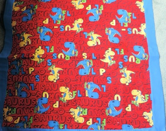 2 PC SET, CUTE Dinosau Receiving Blanket, Blue & Red, Baby Blanket, Shower Gift, Toddler Blanket, Daycare Blanket,Crib Cover, Stroller Cover