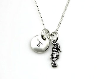 TINY SEAHORSE INITIAL Necklace in Sterling Silver