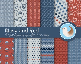 Navy and Red Digital Paper Set - Red and Blue Digital Paper Set - Set of 12 Digital Scrapbooking Papers