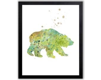 Bear Art, Animal Watercolor Art Print, Grizzly Bear Wall Art - WA005