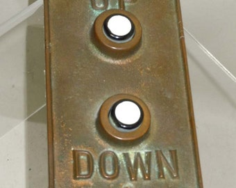 Art Deco Heavy Gauge Bronze Elevator Hall Button Plate Up Down With Electronics