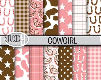COWGIRL Digital Paper: Pink Brown Cowgirl Printable Pattern Print, Cowgirl Download, Cowgirl Backgrounds Cowgirl Scrapbook