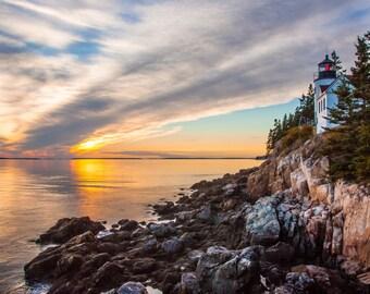 Sunset at Bass Harbor Head Light, Acadia National Park, Mount Desert Island, Maine, Lighthouse, ocean, sea, beach, Fine Art Photography