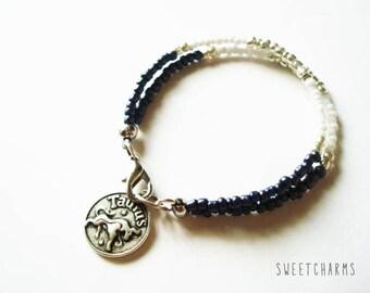 Beaded Zodiac Bracelet - Layering Bracelet - Black, White & Silver
