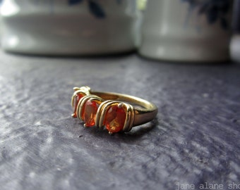 18k Gold Plated 925 Lab Created Orange Sapphire Band Ring (Size 6)