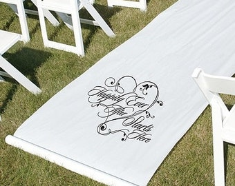 Happily Ever After Starts Here White Wedding Aisle Runner Fairy Tale Wedding