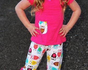 Owl Ruffle Shirt & Capri Pant Set