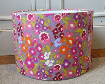 30cm Drum Lampshade Hand Rolled in Gorgeous Grey & Multi Floral Soft Cotton Fabric