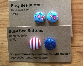 Hand-made cover button earrings