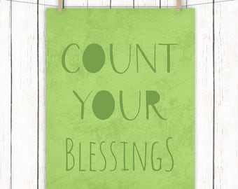Count Your Blessings Printable Art Green Home Decor Typography Print Wall Art 8 x 10 Instant Download