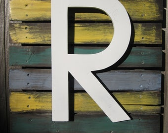 Letter R Reclaimed Wood Sign