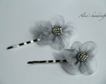 One Set of Ribbon Flowers Bobby Pins In Silver(2 pcs). Handmade Bobby Pins. Ready to Ship