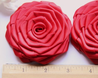 2 Handmade Large Ribbon Roses In Red (3 inches). Ready To Ship.