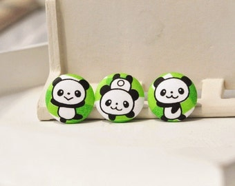 3pcs 2cm cute panada fabric button- panada covered buttons- kids clothes buttons- earring/hair/ bracelet supply