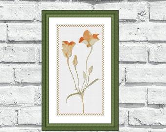 """Modern counted cross stitch pattern """"Orange Tulips"""". Instant download printable PDF. (P103)"""