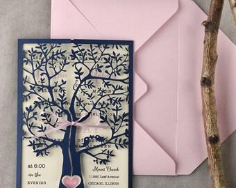 Tree Wedding Invitations (20), Rustic Wedding Invitation, Laser Cut Heart Invites, Pink Navy Wedding Invitations,