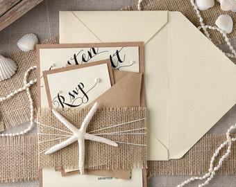 Tropical Beach Wedding Invitations(20), Starfish Invitations, Destination Wedding Invitation, FingerStarfish,