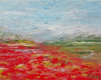 Poppy painting Small oil painting Poppy art Landscape painting Poppy flower painting Original landscape oil painting by Alina Jelvez 8x6""