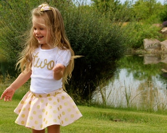 Girls 2nd Birthday Outfit | Pink and Gold Polka Dots Twirl Skirt w/ Gold 'Two' and Knotted Headband