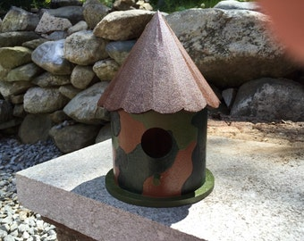"camouflage birdhouse/Army birdhouse 5 1/2""Lx5 1/2""Wx8 1/2""H"