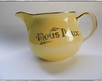 """Pot à lait """"Nous deux"""" Villeroy et Boch, crémier vintage français, années 1940, porcelaine jaune et or, cuisine"""