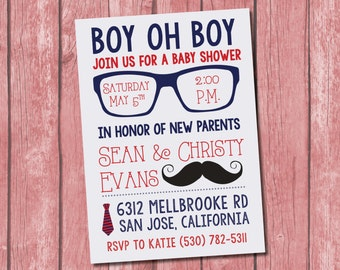 Hipster Baby Shower Invitation 10 pack