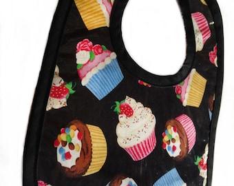 Cupcakes Baby Bib with Black Binding