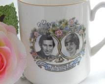 Vintage Commemorative Charles & Princess Diana Wedding English Bone China Cup - British Royal Family