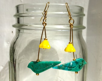 Turquoise Bird Drop Earrings