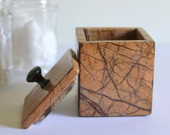 Small Marble Box Vintage, Bathroom Decor, Home Decor, Spring Decor Collectible, Office Desk Decor